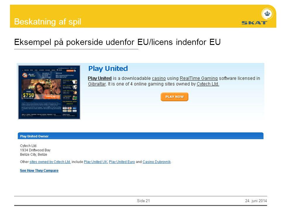 Eksempel på pokerside udenfor EU/licens indenfor EU