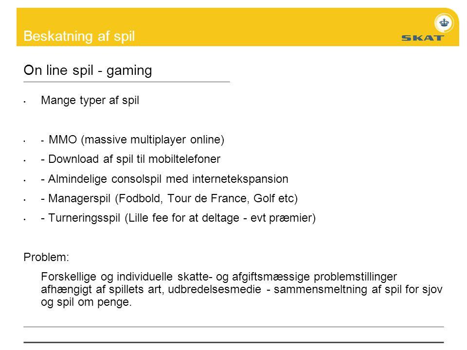 On line spil - gaming Mange typer af spil