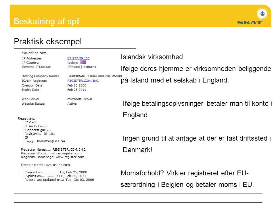 Praktisk eksempel Islandsk virksomhed