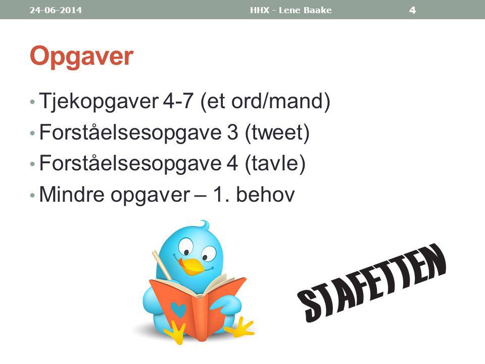 Opgaver Tjekopgaver 4-7 (et ord/mand) Forståelsesopgave 3 (tweet)