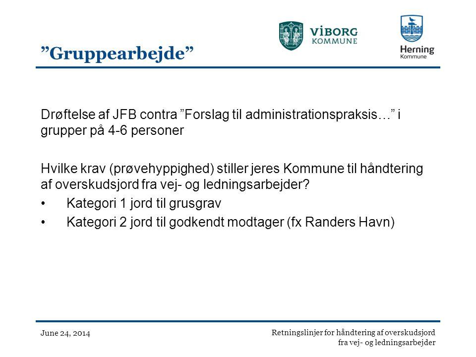 Gruppearbejde Drøftelse af JFB contra Forslag til administrationspraksis… i grupper på 4-6 personer.