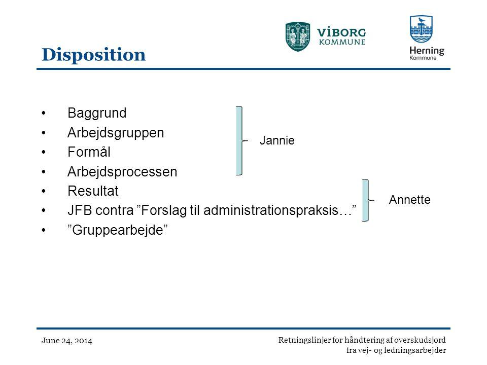 Disposition Baggrund Arbejdsgruppen Formål Arbejdsprocessen Resultat