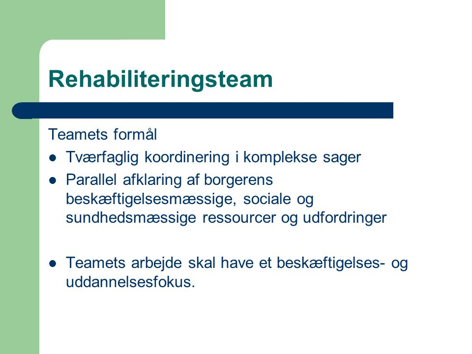 Rehabiliteringsteam Teamets formål