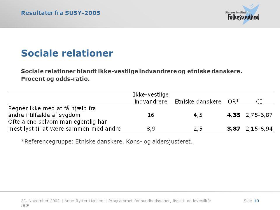 Sociale relationer Sociale relationer blandt ikke-vestlige indvandrere og etniske danskere. Procent og odds-ratio.