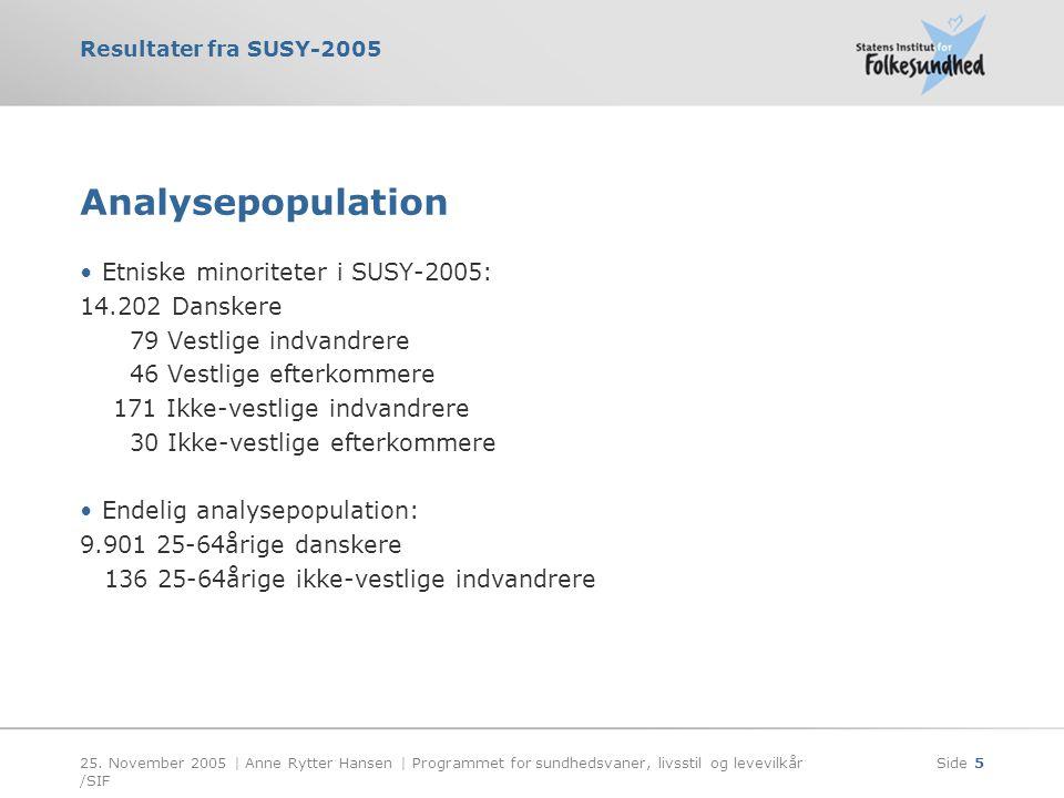 Analysepopulation Etniske minoriteter i SUSY-2005: 14.202 Danskere