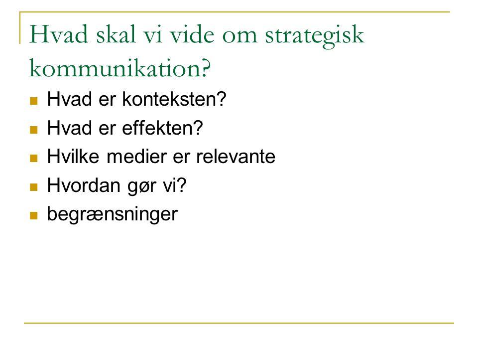 Hvad skal vi vide om strategisk kommunikation