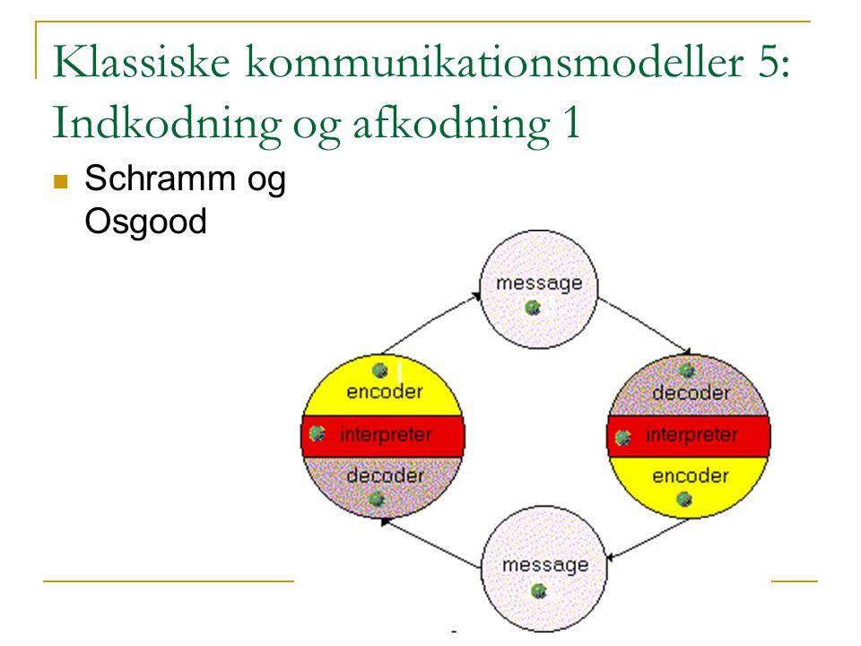 Klassiske kommunikationsmodeller 5: Indkodning og afkodning 1