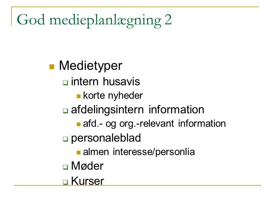 God medieplanlægning 2 Medietyper intern husavis