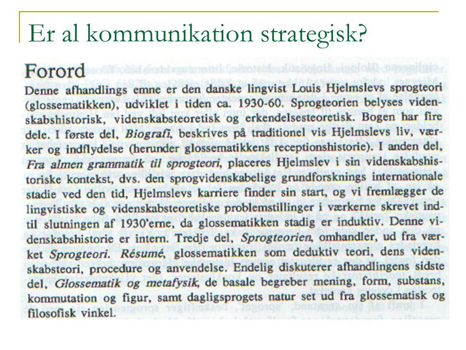 Er al kommunikation strategisk