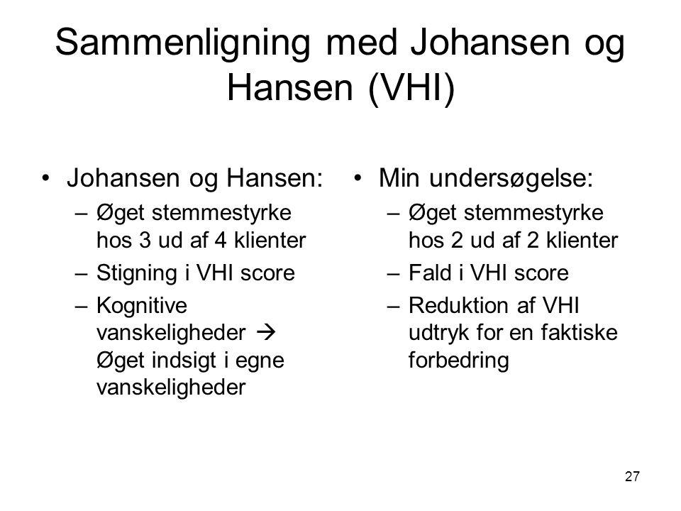 Sammenligning med Johansen og Hansen (VHI)