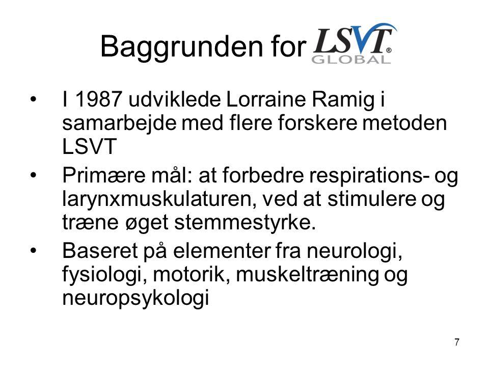 Baggrunden for LSVT I 1987 udviklede Lorraine Ramig i samarbejde med flere forskere metoden LSVT.
