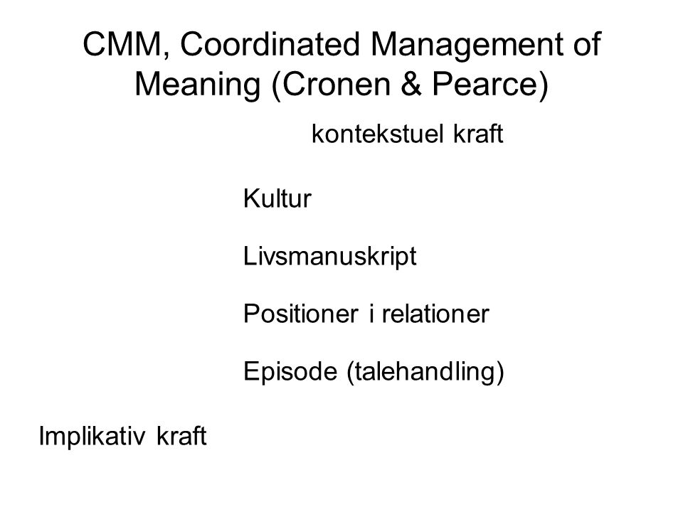 CMM, Coordinated Management of Meaning (Cronen & Pearce)