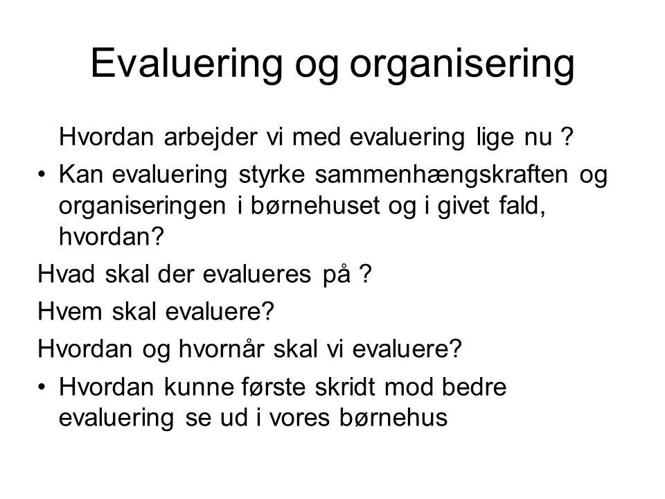 Evaluering og organisering