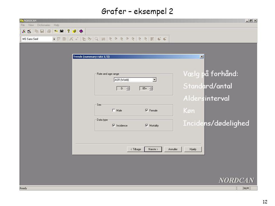 Grafer – eksempel 2 Vælg på forhånd: Standard/antal Aldersinterval Køn