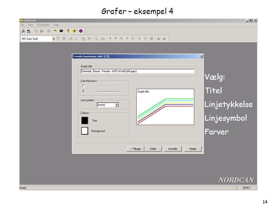 Grafer – eksempel 4 Vælg: Titel Linjetykkelse Linjesymbol Farver