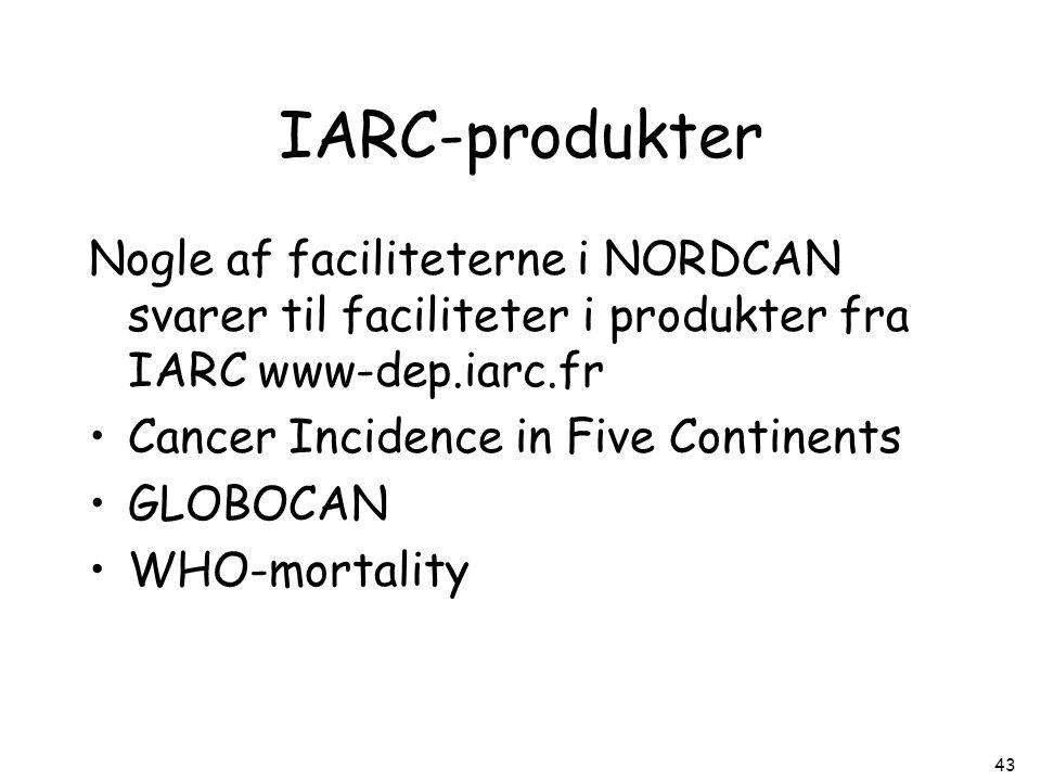 IARC-produkter Nogle af faciliteterne i NORDCAN svarer til faciliteter i produkter fra IARC www-dep.iarc.fr.