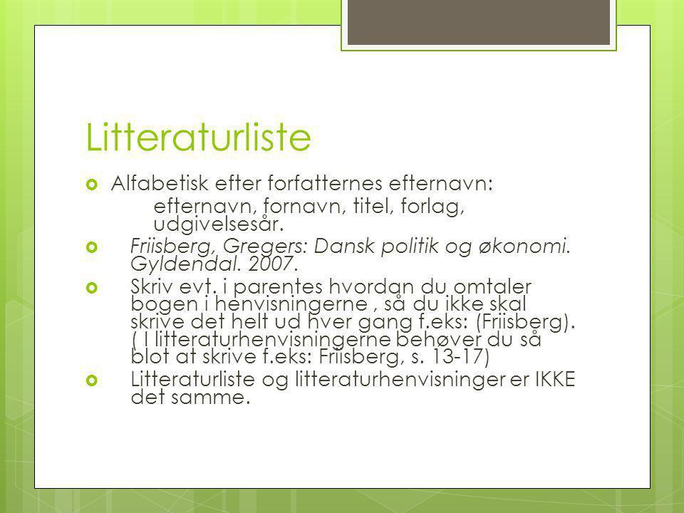 Litteraturliste Alfabetisk efter forfatternes efternavn: