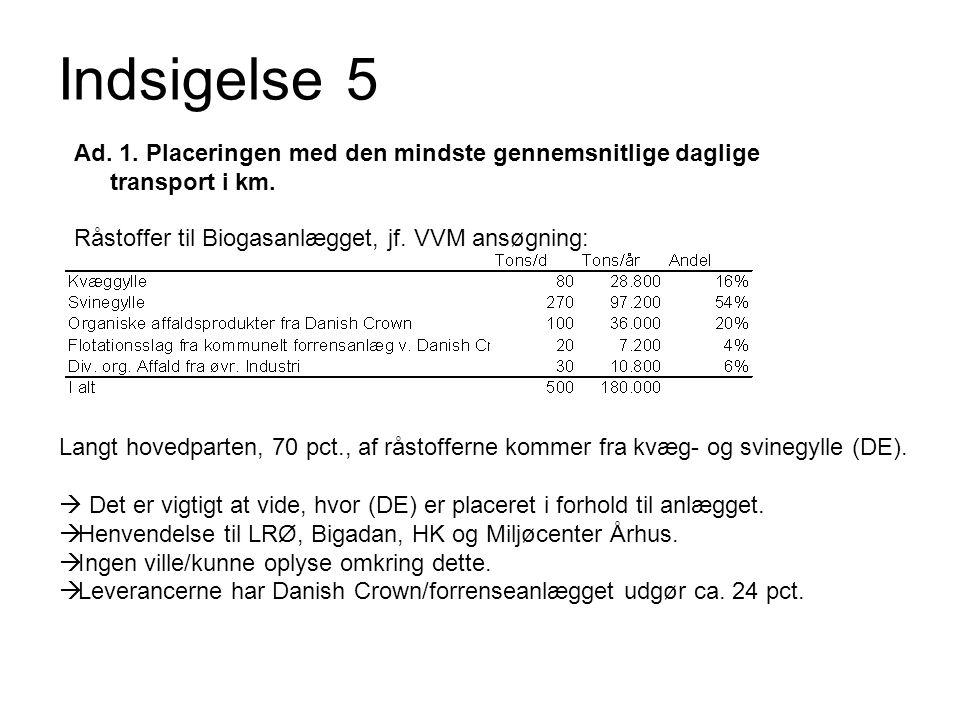 Indsigelse 5 Ad. 1. Placeringen med den mindste gennemsnitlige daglige transport i km. Råstoffer til Biogasanlægget, jf. VVM ansøgning: