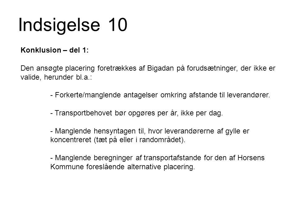 Indsigelse 10 Konklusion – del 1: