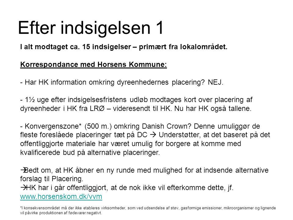 Efter indsigelsen 1 I alt modtaget ca. 15 indsigelser – primært fra lokalområdet. Korrespondance med Horsens Kommune: