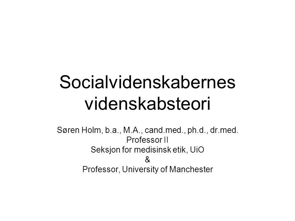 Socialvidenskabernes videnskabsteori