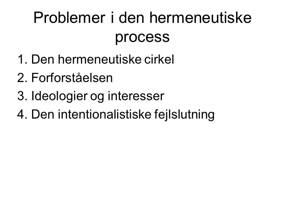 Problemer i den hermeneutiske process
