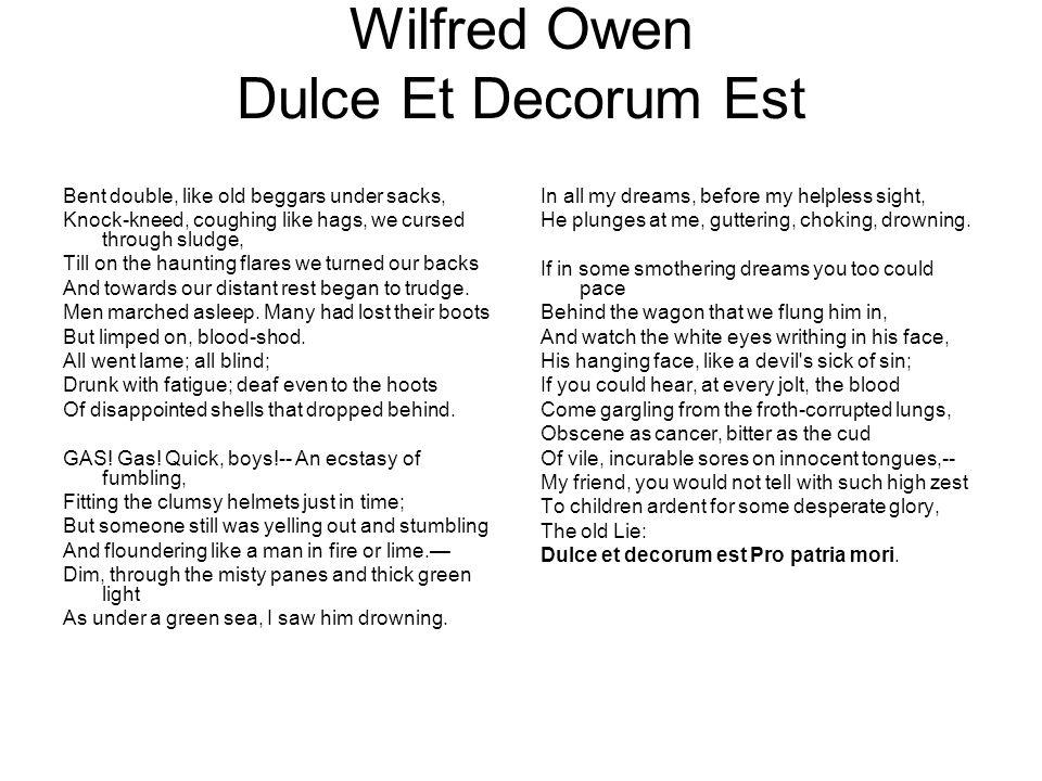 Wilfred Owen Dulce Et Decorum Est
