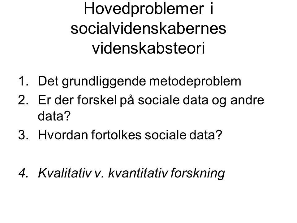 Hovedproblemer i socialvidenskabernes videnskabsteori