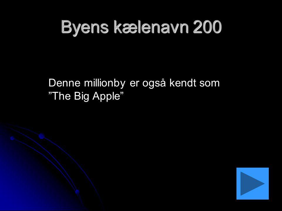 Byens kælenavn 200 Denne millionby er også kendt som The Big Apple
