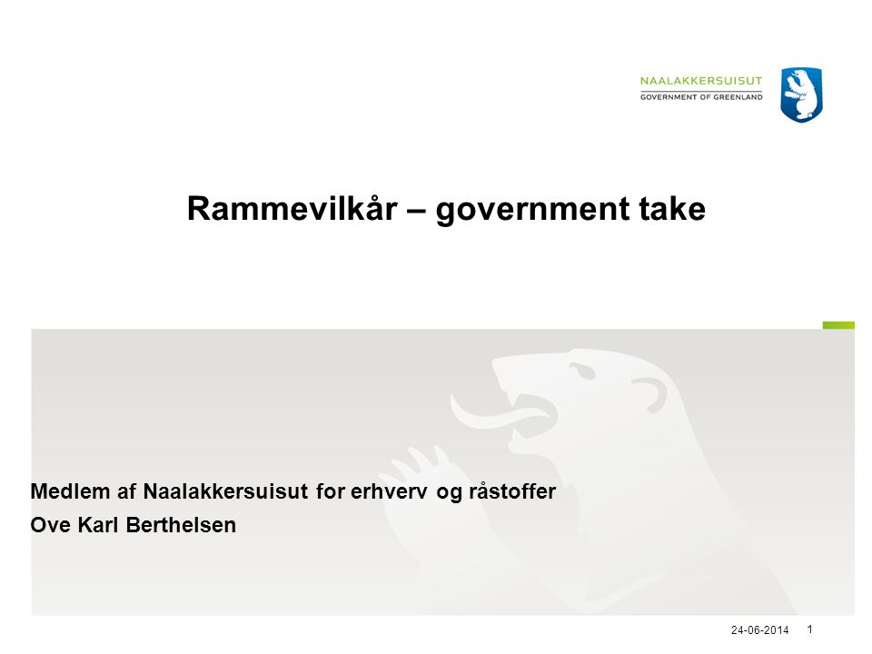 Rammevilkår – government take
