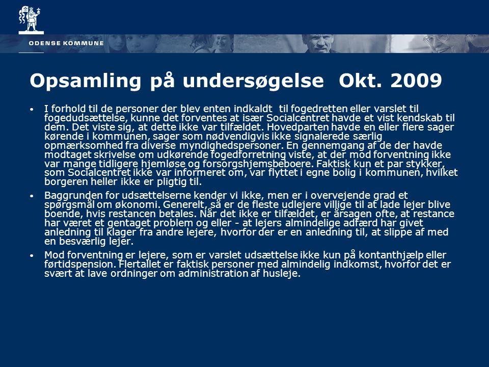 Opsamling på undersøgelse Okt. 2009