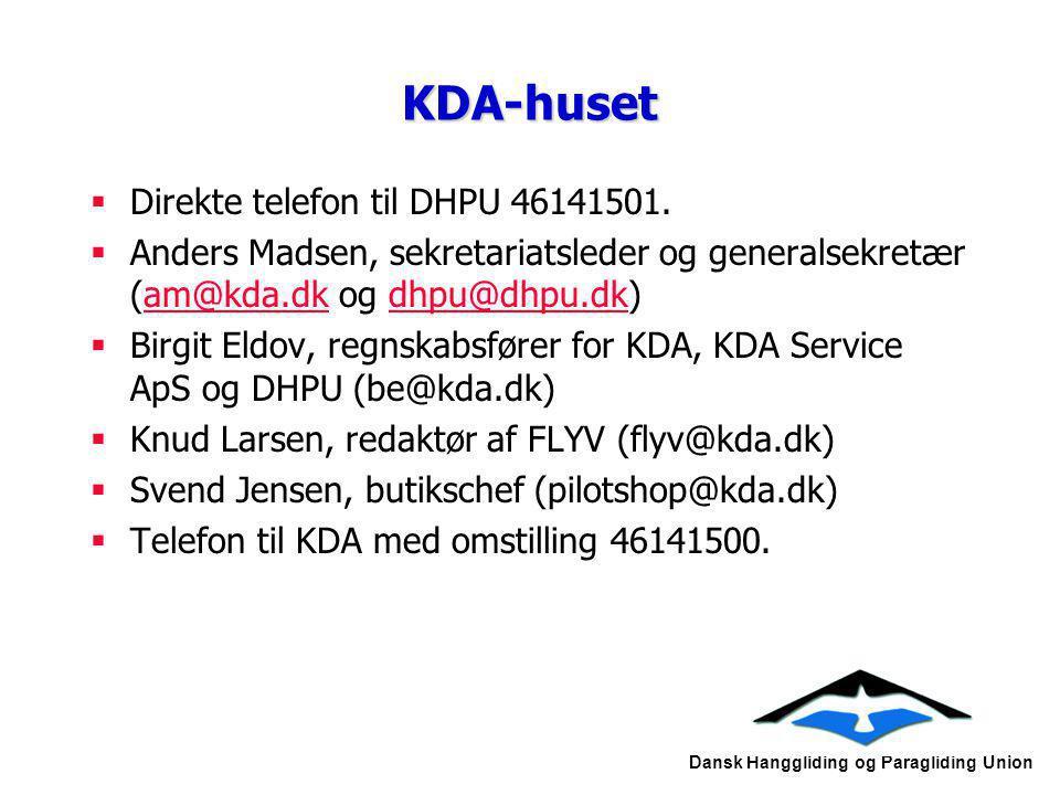 KDA-huset Direkte telefon til DHPU 46141501.