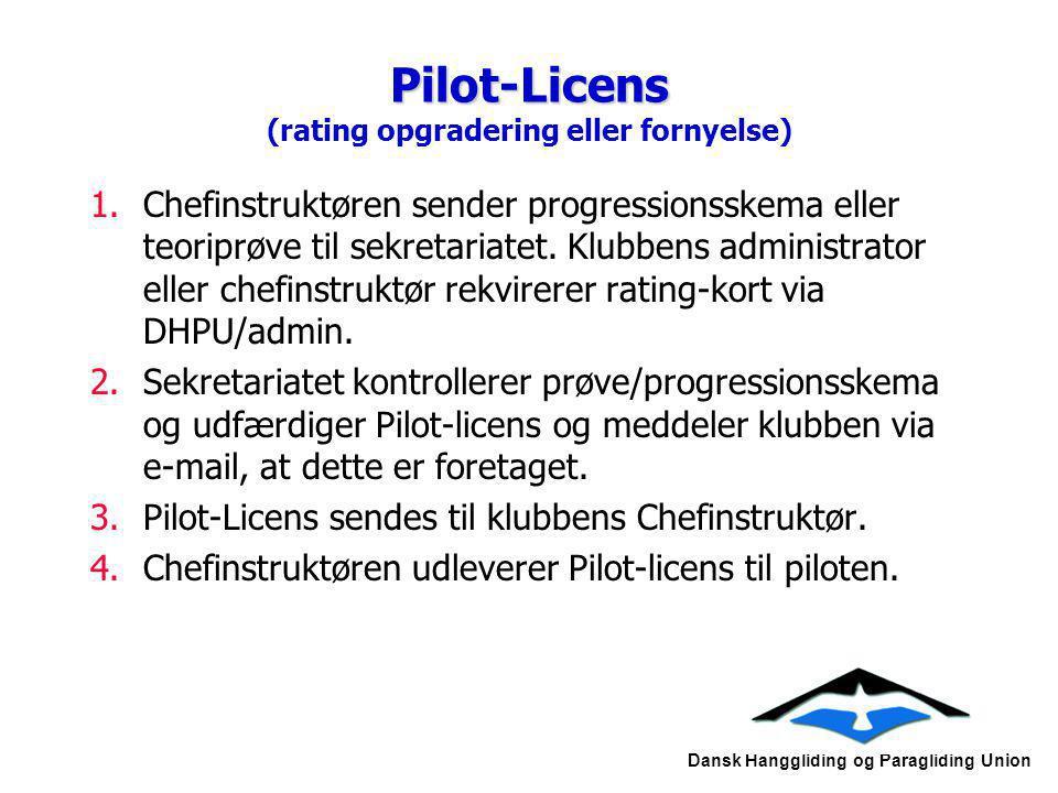 Pilot-Licens (rating opgradering eller fornyelse)