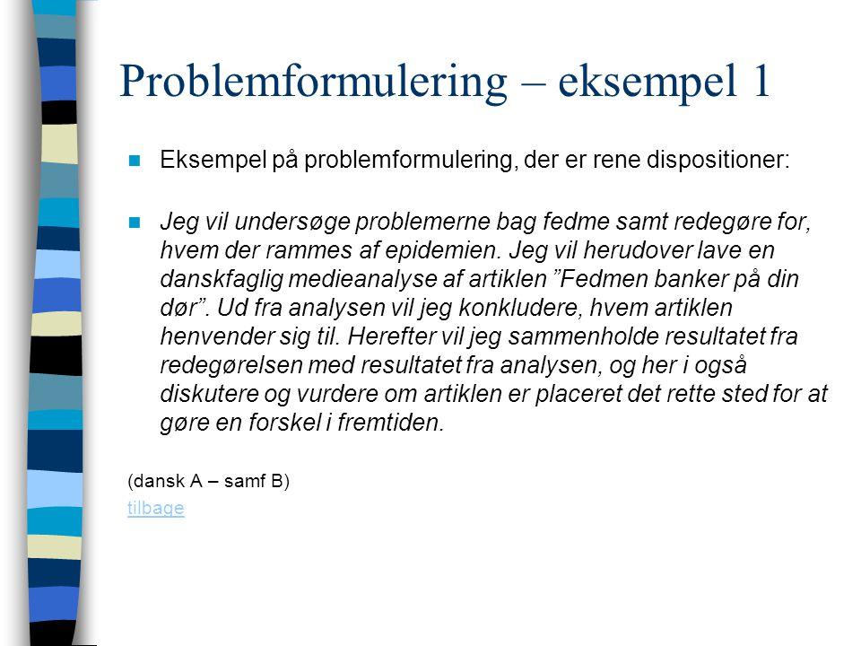 Problemformulering – eksempel 1