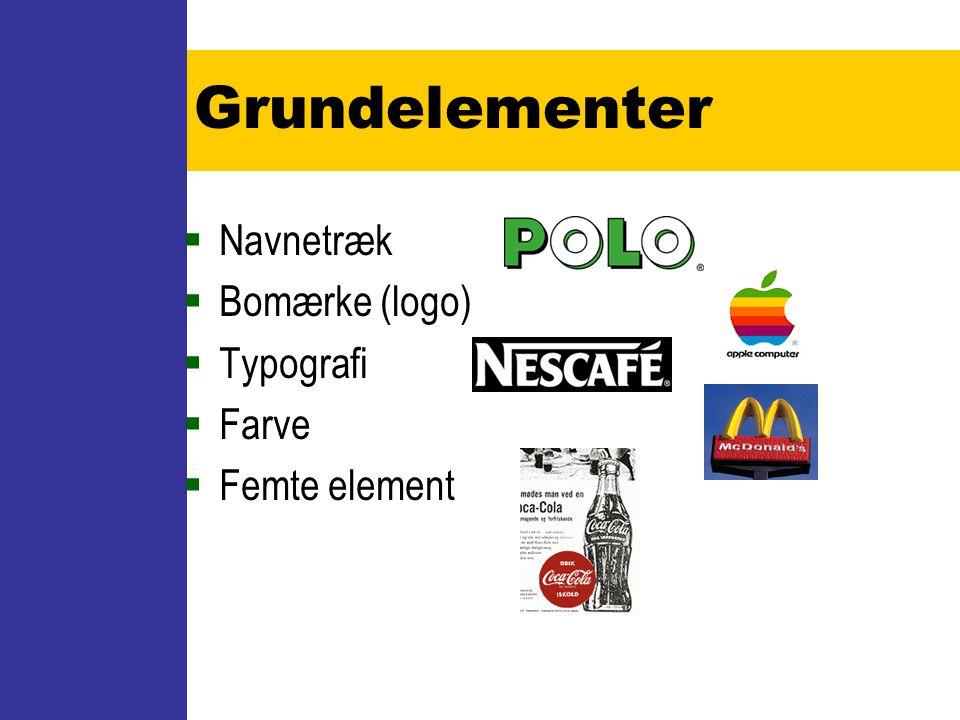 Grundelementer Navnetræk Bomærke (logo) Typografi Farve Femte element
