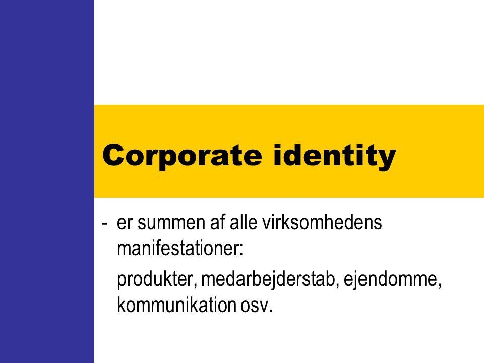 Corporate identity - er summen af alle virksomhedens manifestationer: