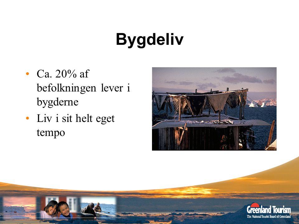 Bygdeliv Ca. 20% af befolkningen lever i bygderne