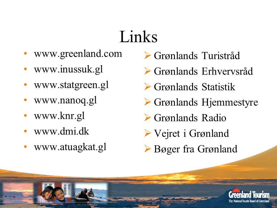 Links www.greenland.com Grønlands Turistråd www.inussuk.gl