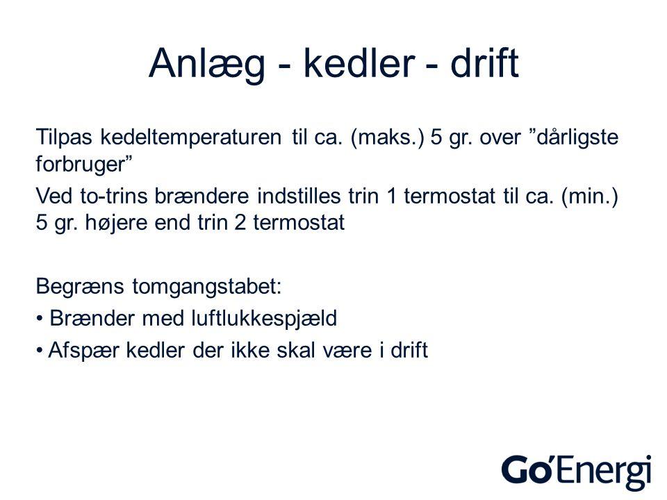 Anlæg - kedler - drift Tilpas kedeltemperaturen til ca. (maks.) 5 gr. over dårligste forbruger