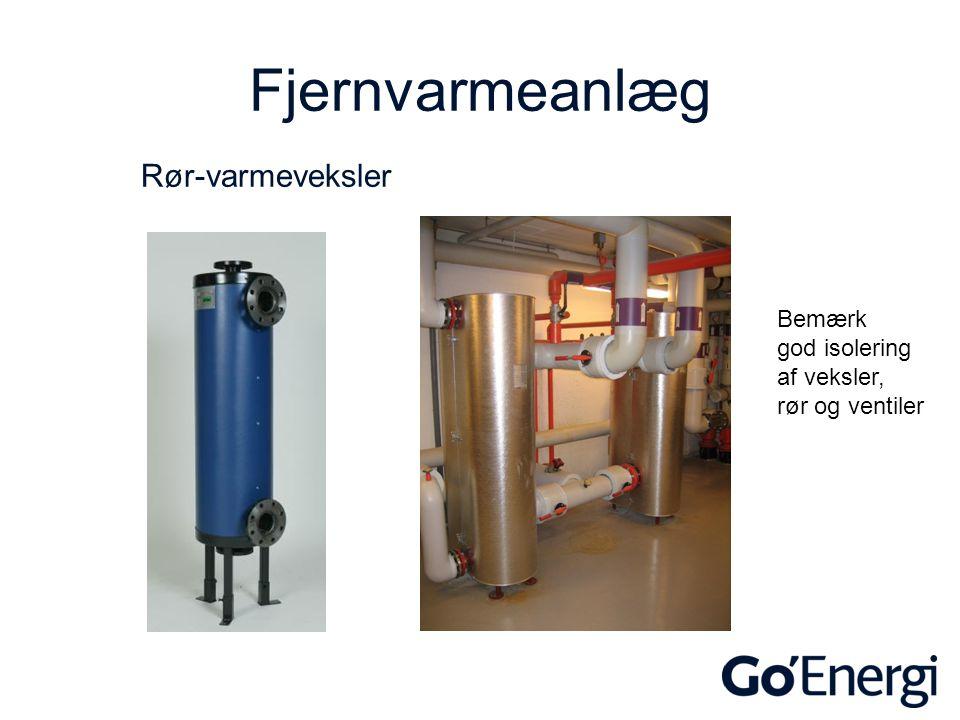 Fjernvarmeanlæg Rør-varmeveksler Bemærk god isolering af veksler,
