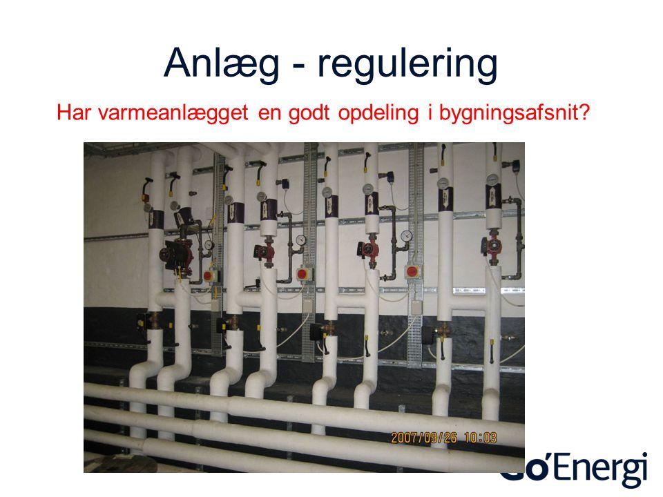 Anlæg - regulering Har varmeanlægget en godt opdeling i bygningsafsnit