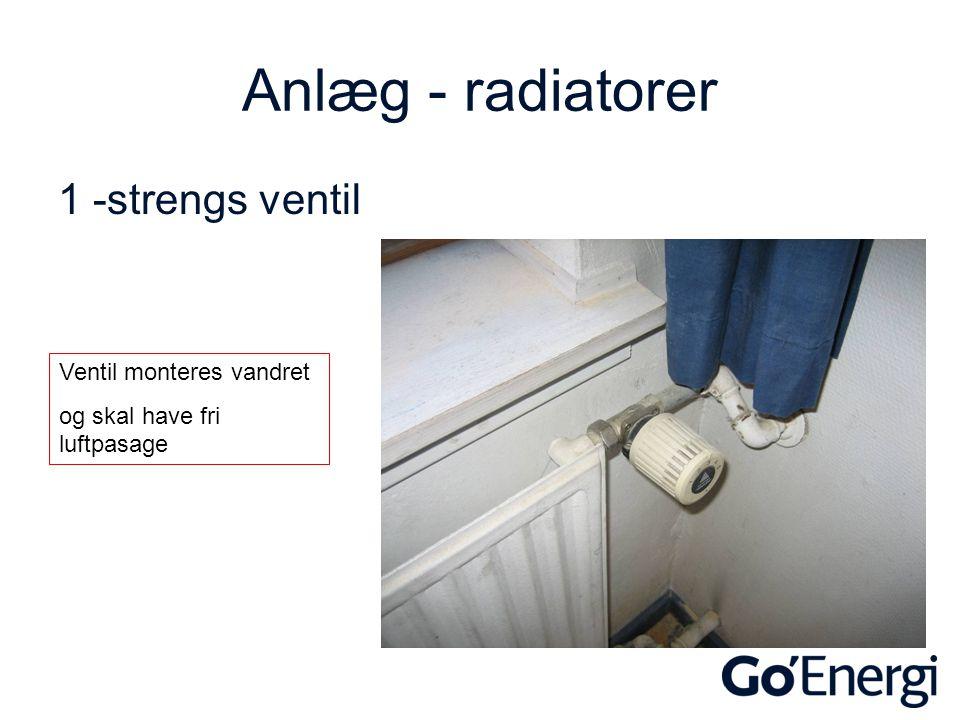 Anlæg - radiatorer 1 -strengs ventil Ventil monteres vandret
