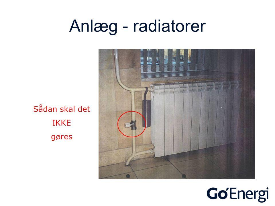 Anlæg - radiatorer Sådan skal det IKKE gøres