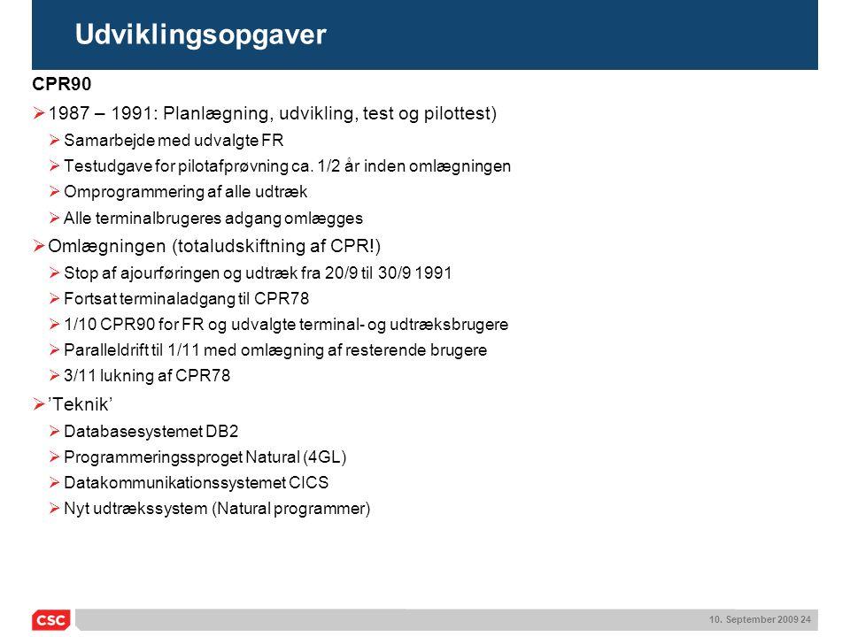 Udviklingsopgaver CPR90