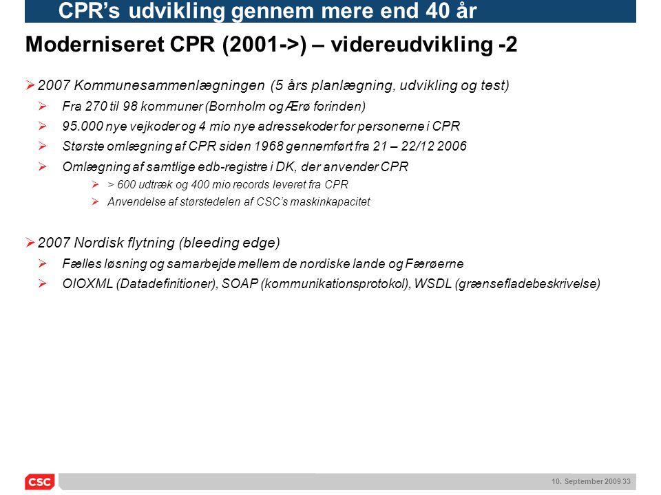 Moderniseret CPR (2001->) – videreudvikling -2
