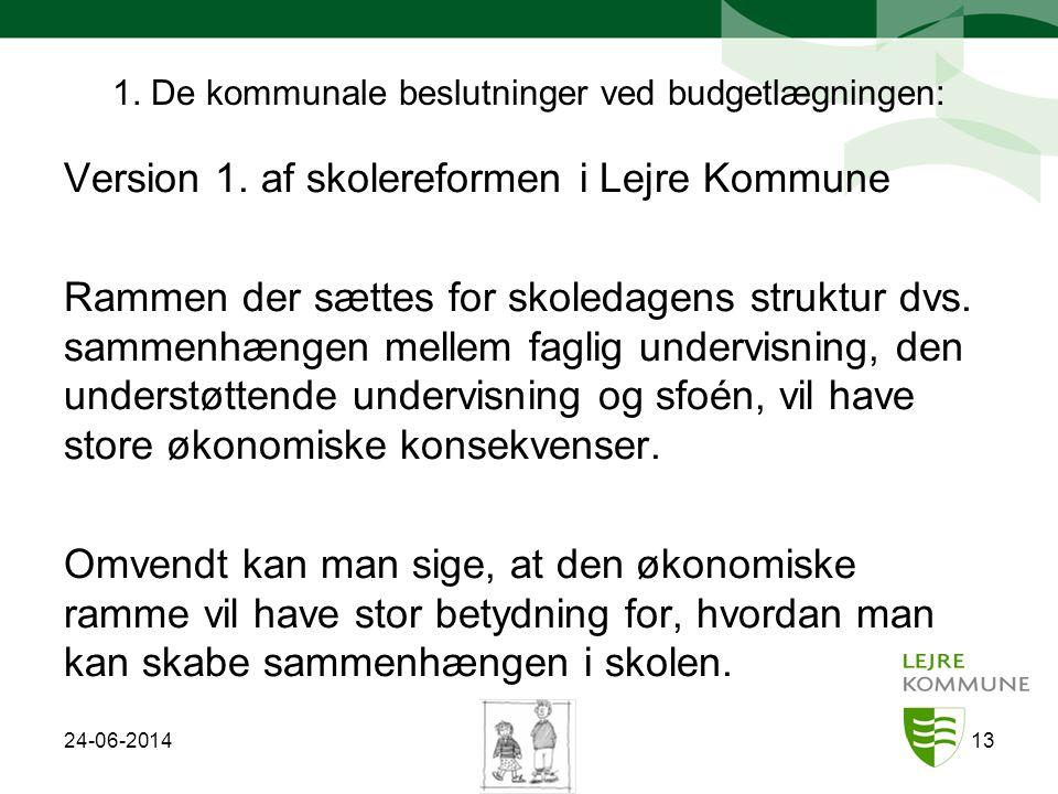 1. De kommunale beslutninger ved budgetlægningen: