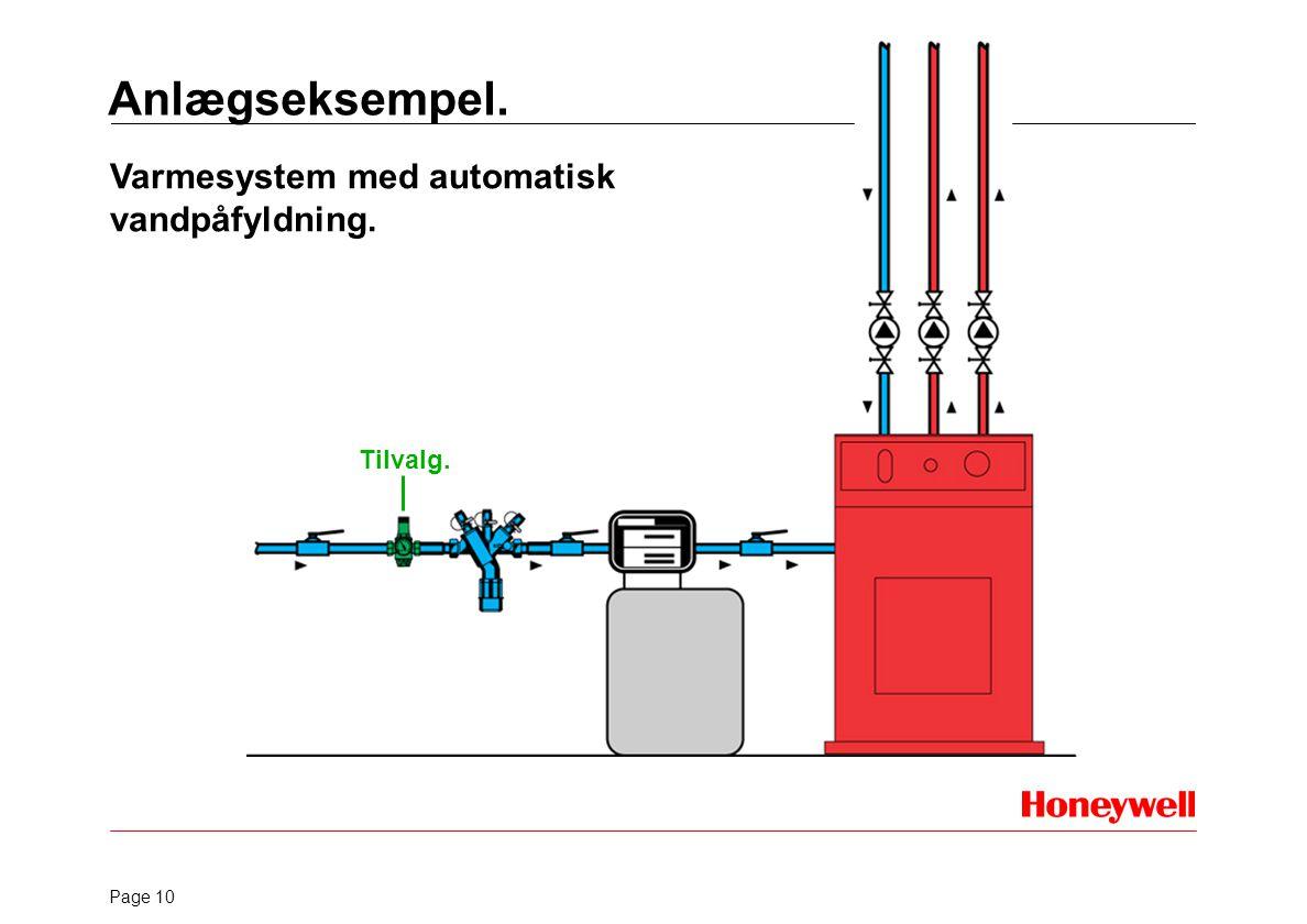 Anlægseksempel. Varmesystem med automatisk vandpåfyldning. Tilvalg.
