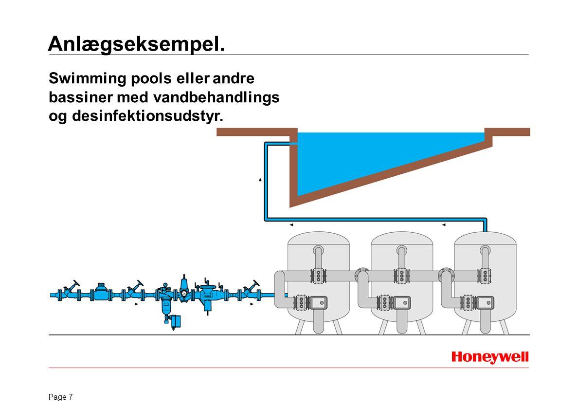 Anlægseksempel. Swimming pools eller andre bassiner med vandbehandlings og desinfektionsudstyr.