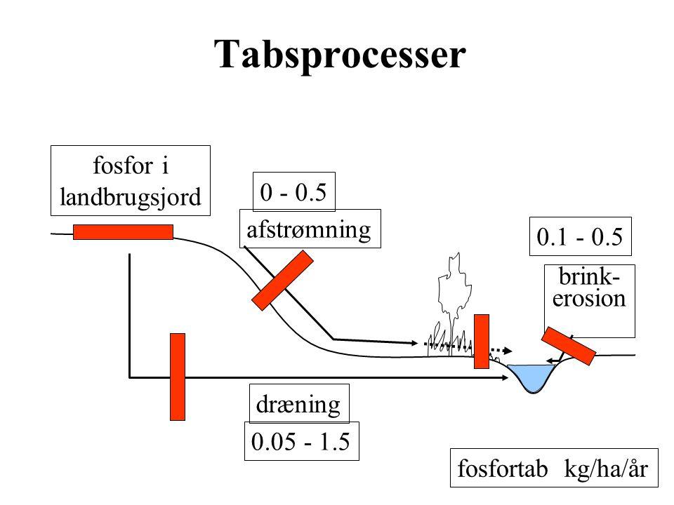 Tabsprocesser fosfor i landbrugsjord 0 - 0.5 afstrømning 0.1 - 0.5