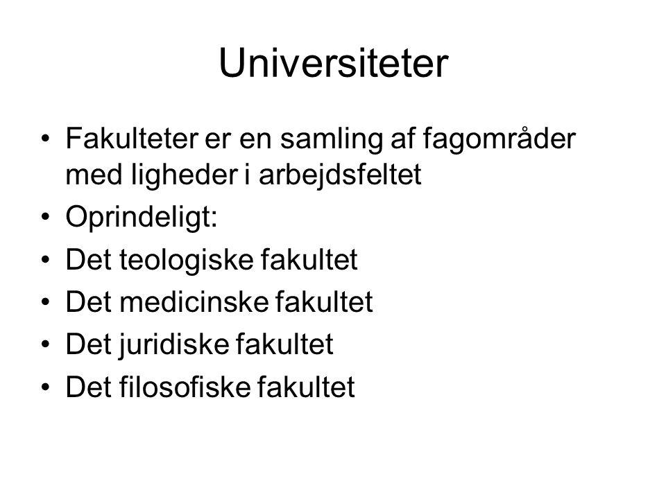 Universiteter Fakulteter er en samling af fagområder med ligheder i arbejdsfeltet. Oprindeligt: Det teologiske fakultet.